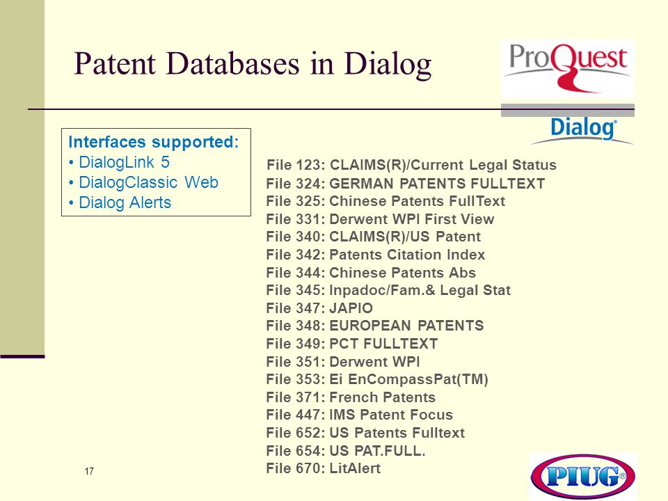 Patent Databases in Dialog
