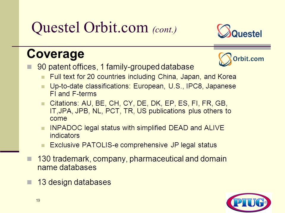 Questel Orbit.com (cont.)