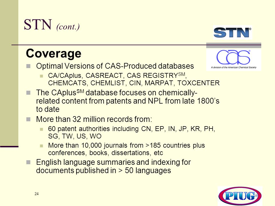STN (cont.) Coverage Optimal Versions of CAS-Produced databases