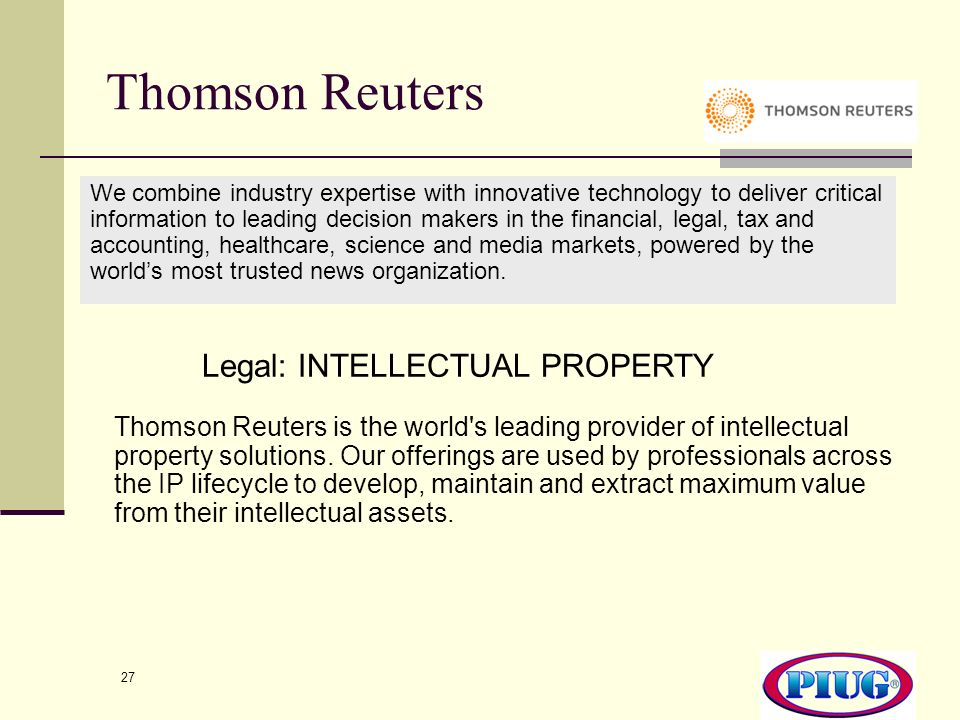 Thomson Reuters Legal: INTELLECTUAL PROPERTY