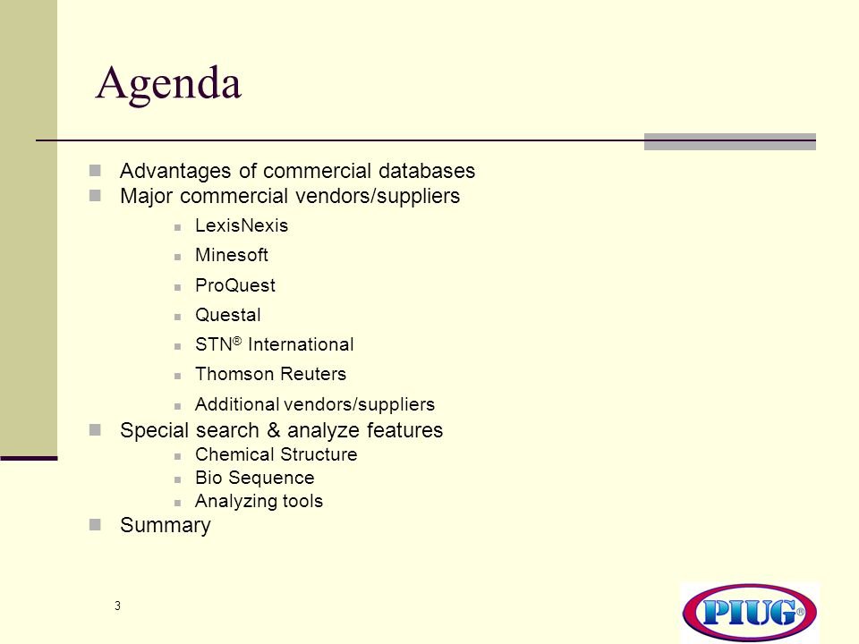 Agenda Advantages of commercial databases