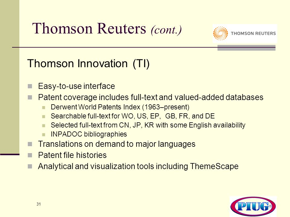 Thomson Reuters (cont.)