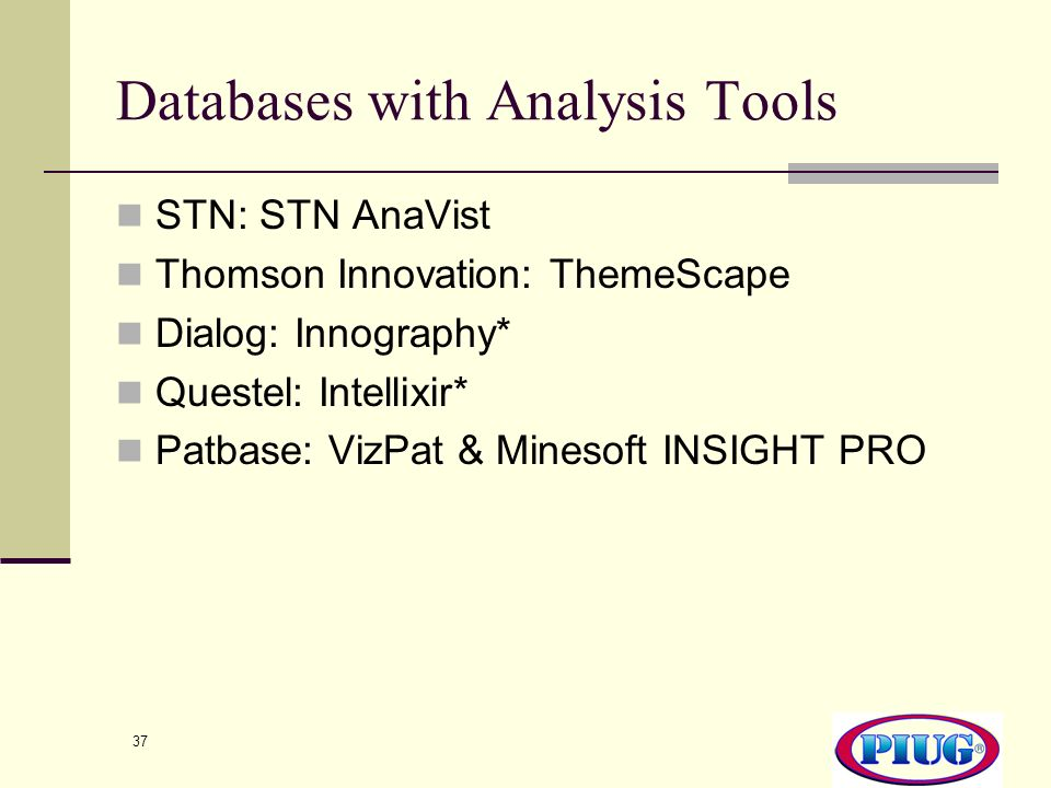 Databases with Analysis Tools