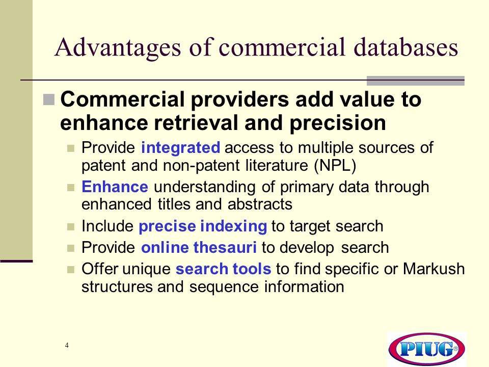 Advantages of commercial databases