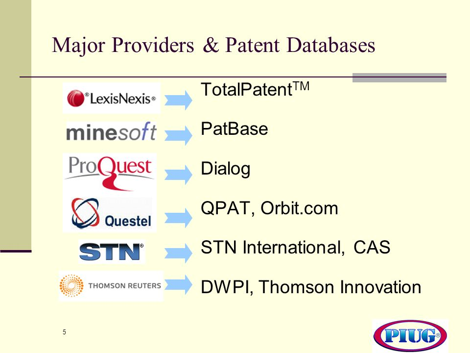 Major Providers & Patent Databases
