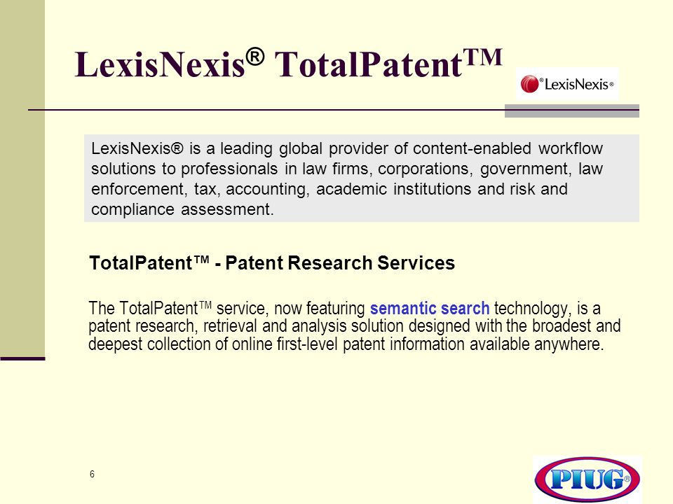 LexisNexis® TotalPatentTM