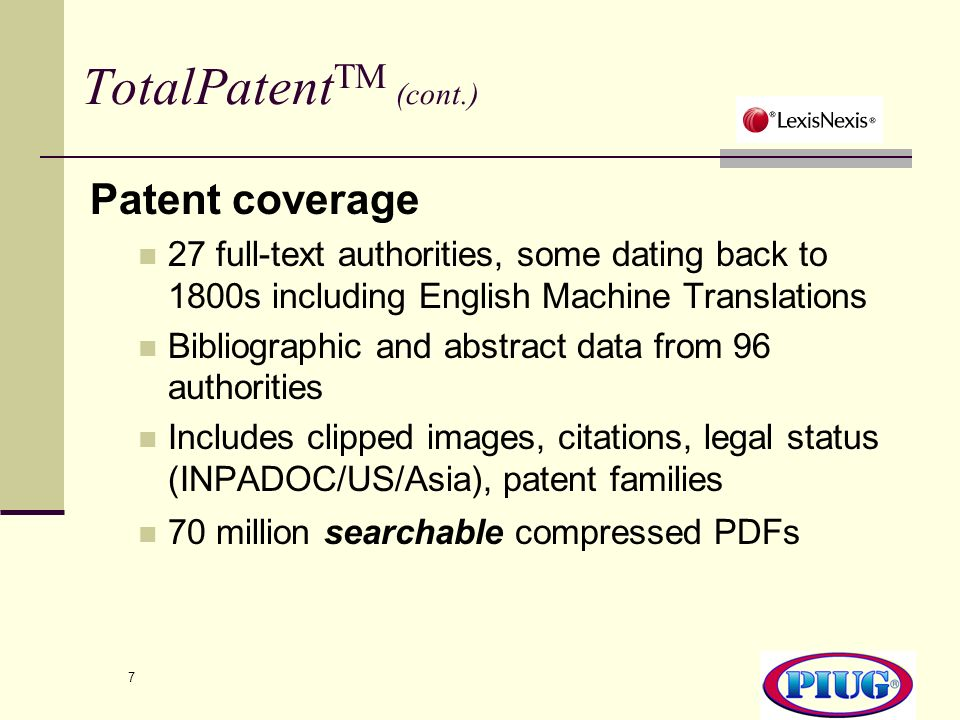 TotalPatentTM (cont.) Patent coverage