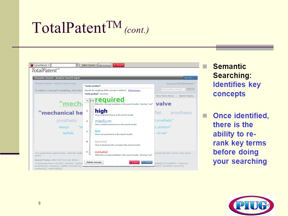 TotalPatentTM (cont.) Semantic Searching: Identifies key concepts