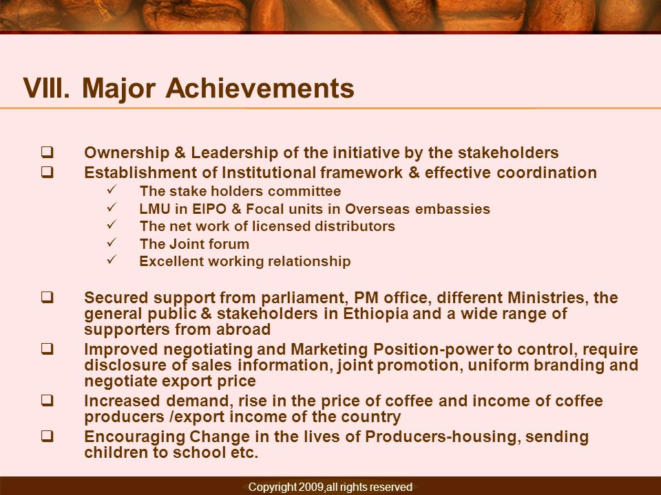 VIII. Major Achievements