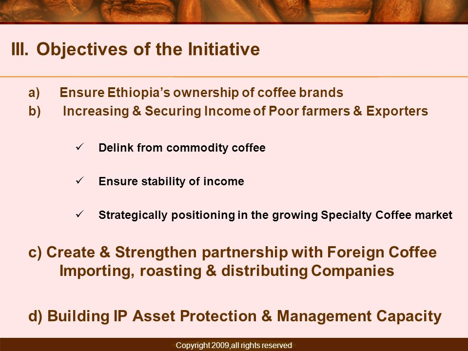 III. Objectives of the Initiative