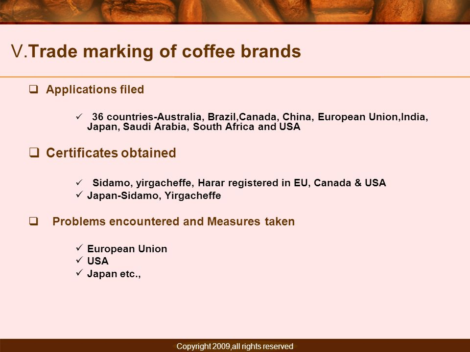 V.Trade marking of coffee brands