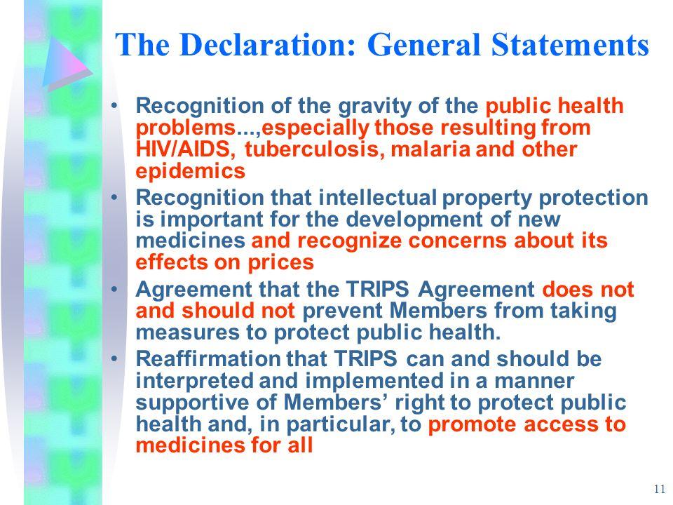 The Declaration: General Statements