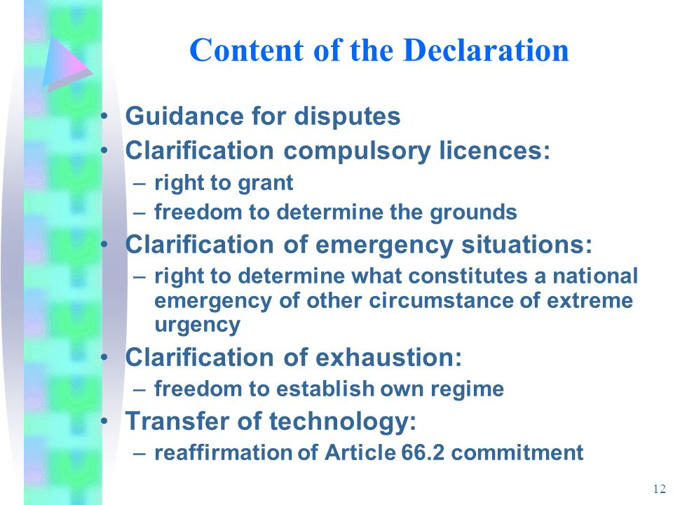 Content of the Declaration