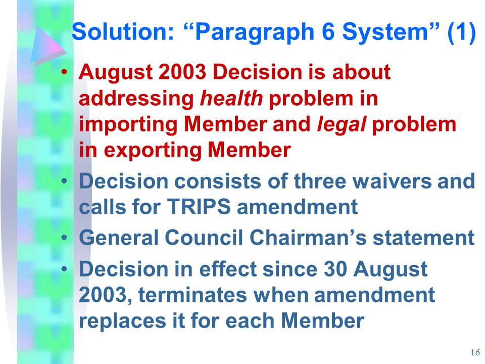 Solution: Paragraph 6 System (1)