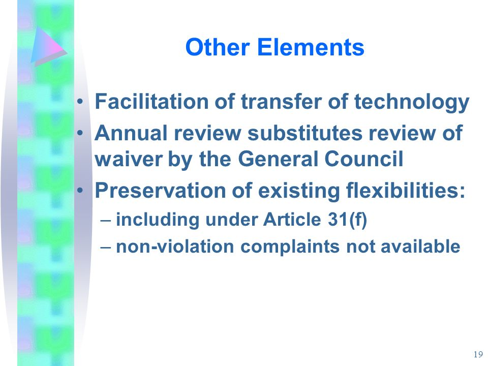 Other Elements Facilitation of transfer of technology