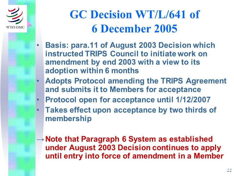 GC Decision WT/L/641 of 6 December 2005