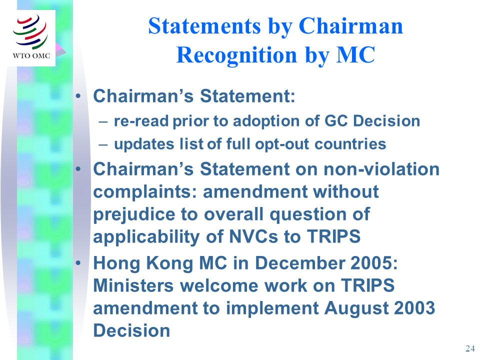 Statements by Chairman Recognition by MC