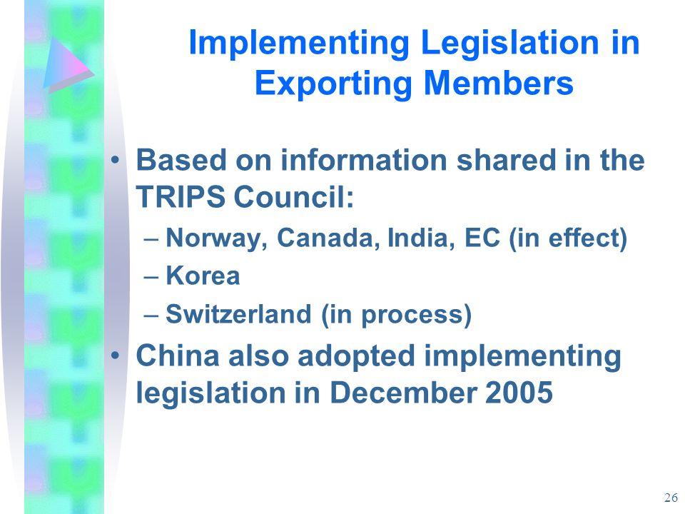 Implementing Legislation in Exporting Members