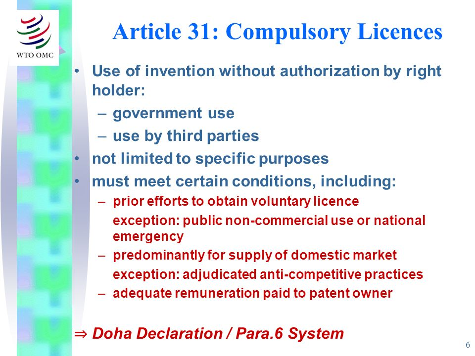 Article 31: Compulsory Licences