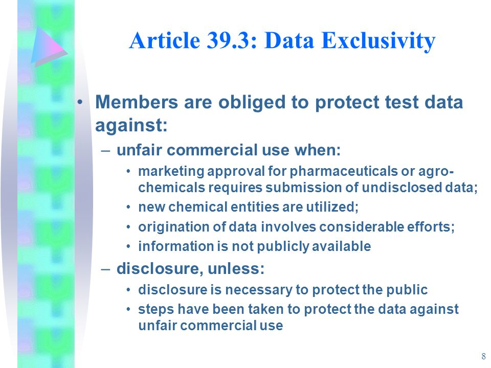 Article 39.3: Data Exclusivity