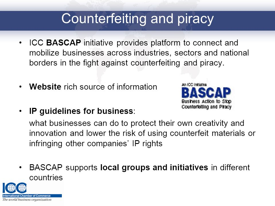 Counterfeiting and piracy