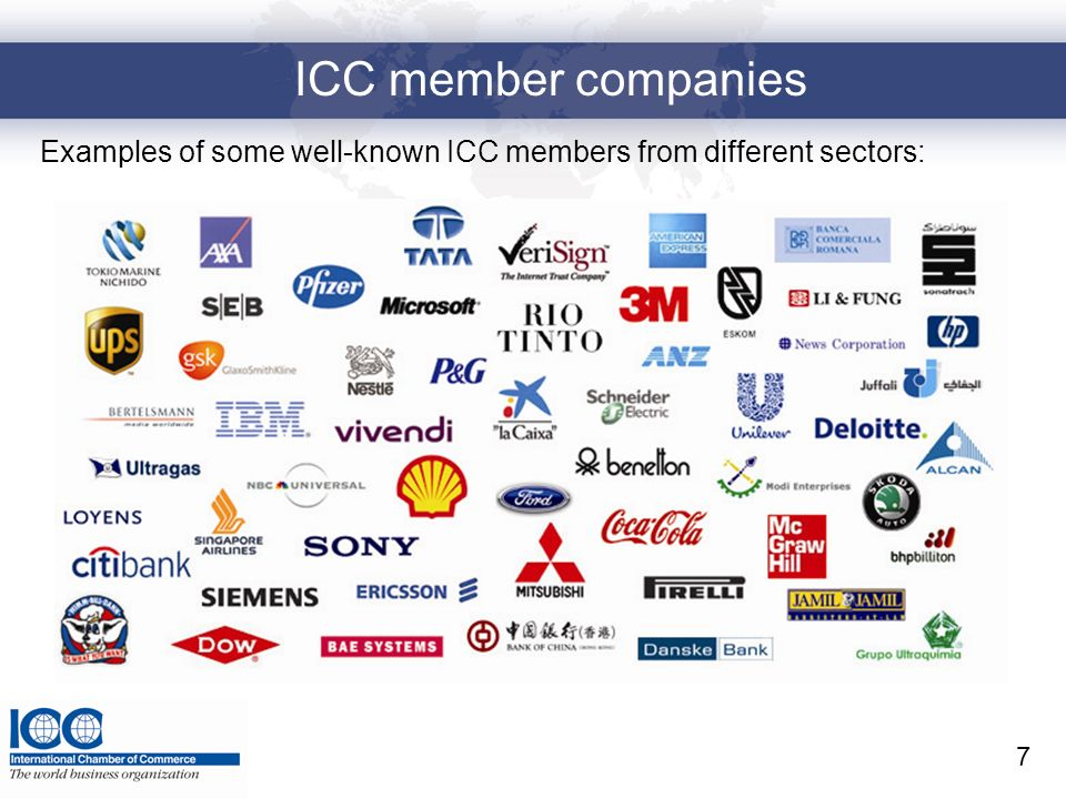 ICC member companies Examples of some well-known ICC members from different sectors: 7