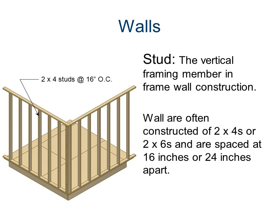 Common components of a traditional wood framed building ppt video online download for Exterior stud wall construction