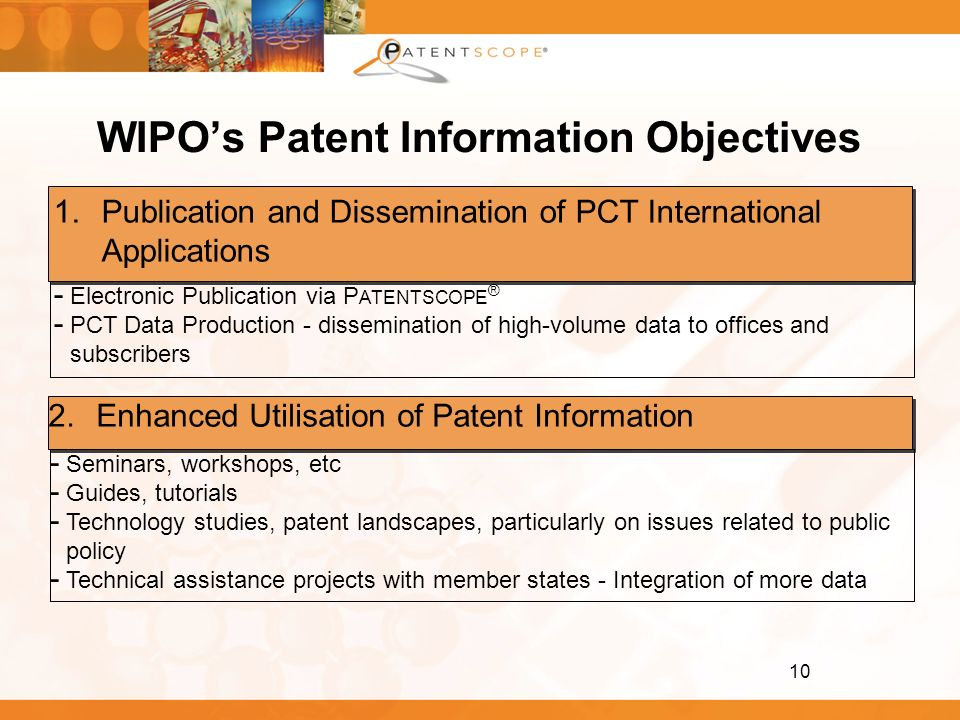 WIPO's Patent Information Objectives
