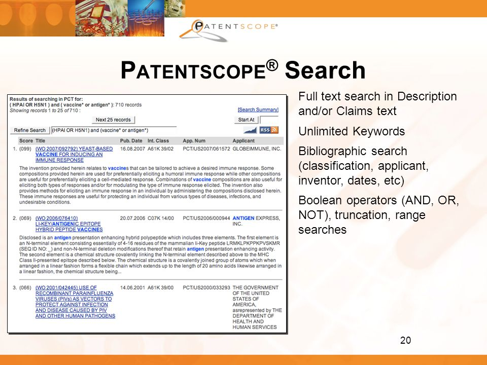 PATENTSCOPE® Search Full text search in Description and/or Claims text