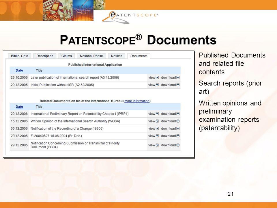 PATENTSCOPE® Documents