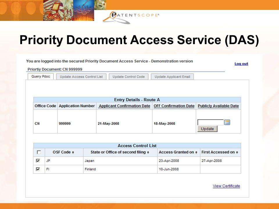 Priority Document Access Service (DAS)