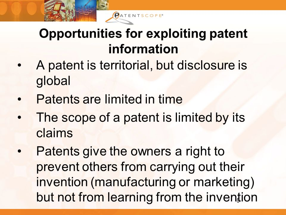 Opportunities for exploiting patent information