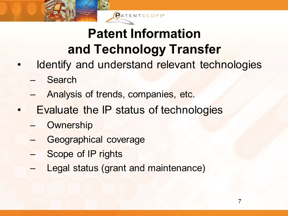 Patent Information and Technology Transfer