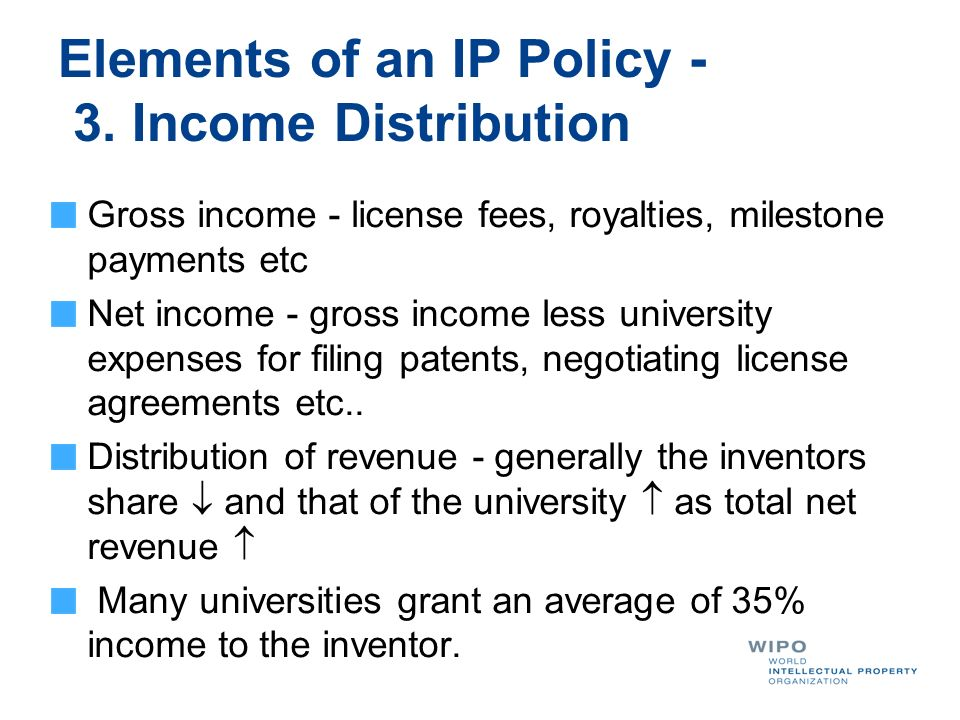 Elements of an IP Policy - 3. Income Distribution