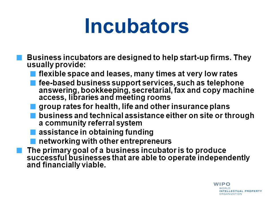 Incubators Business incubators are designed to help start-up firms. They usually provide: flexible space and leases, many times at very low rates.