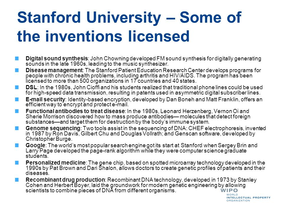 Stanford University – Some of the inventions licensed