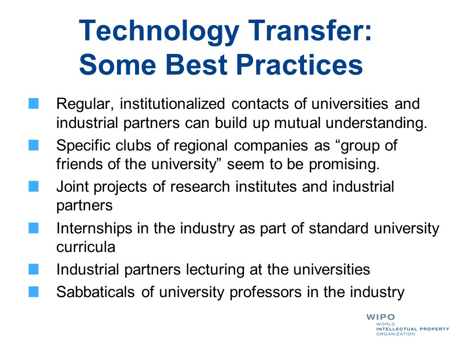 Technology Transfer: Some Best Practices