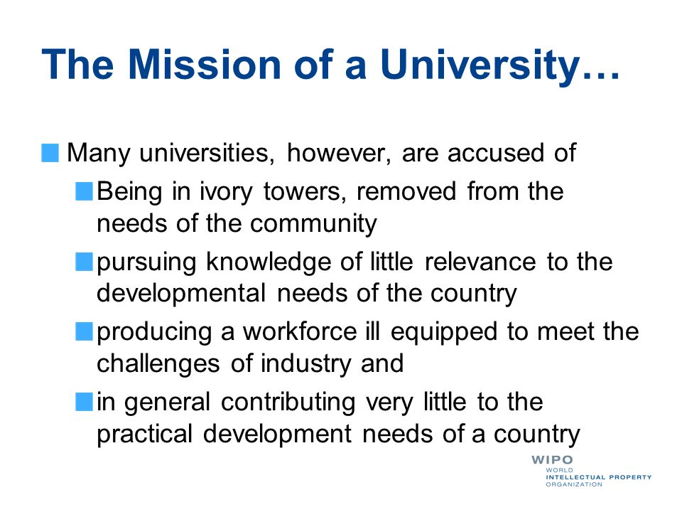 The Mission of a University…