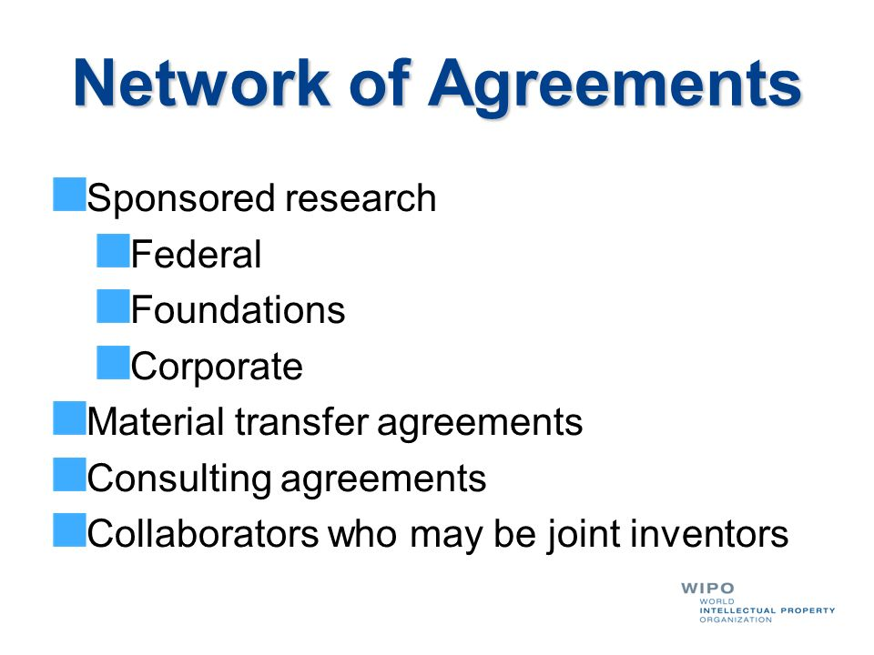Network of Agreements Sponsored research Federal Foundations Corporate