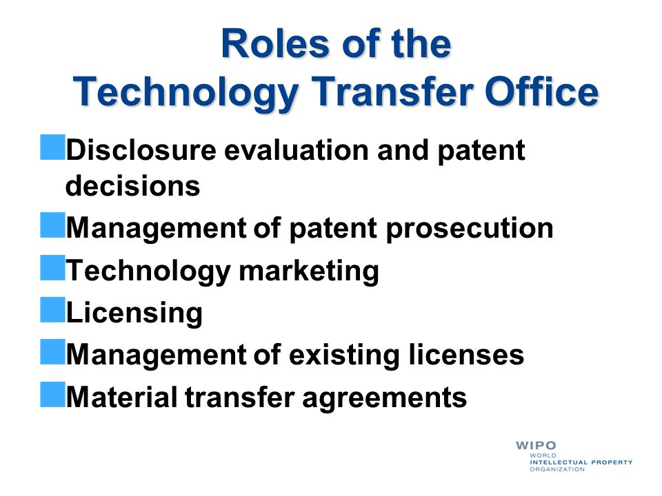 Roles of the Technology Transfer Office