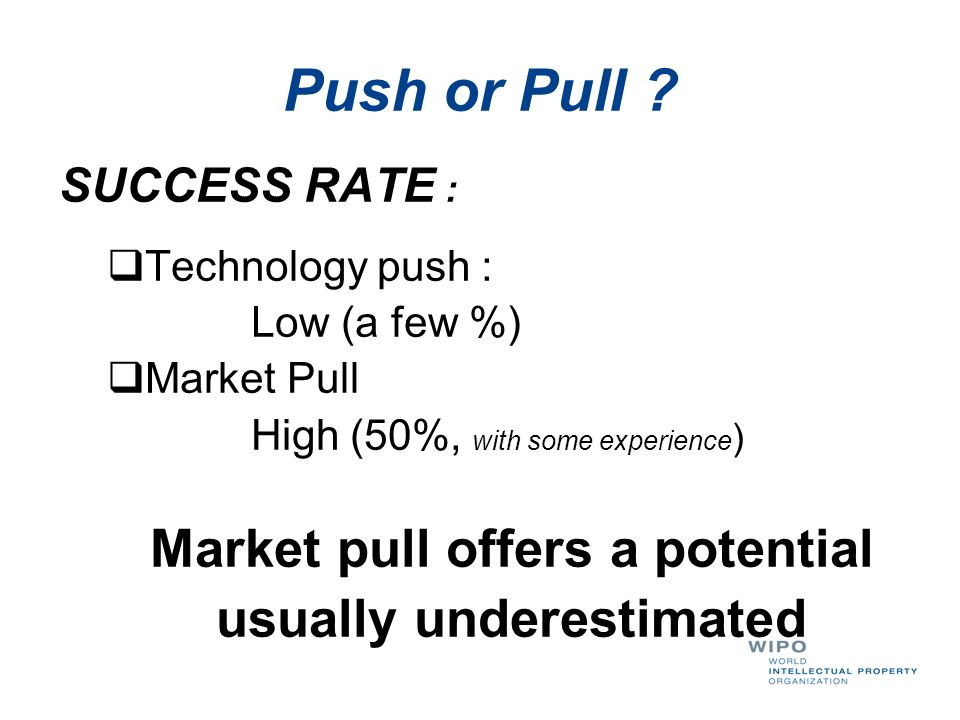 Market pull offers a potential usually underestimated