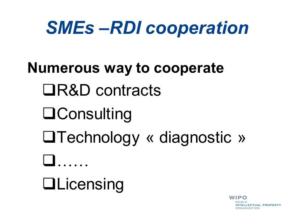 SMEs –RDI cooperation R&D contracts Consulting