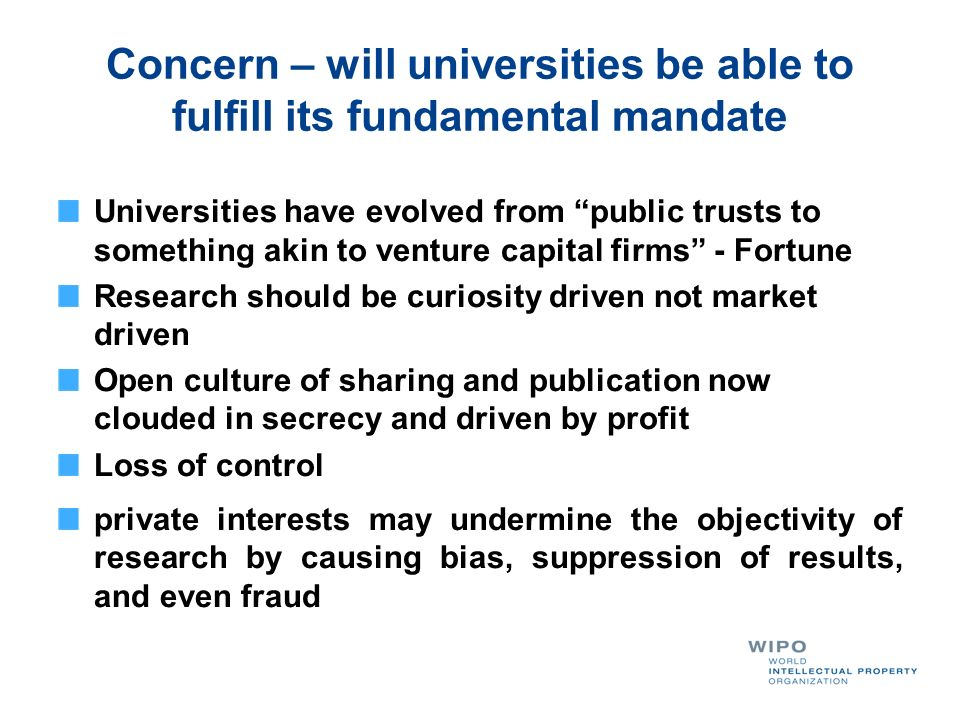 Concern – will universities be able to fulfill its fundamental mandate