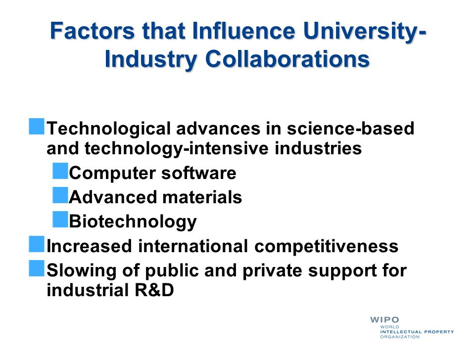 Factors that Influence University-Industry Collaborations