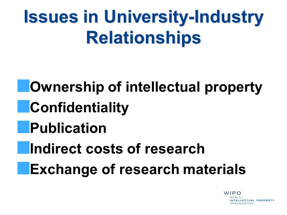 Issues in University-Industry Relationships