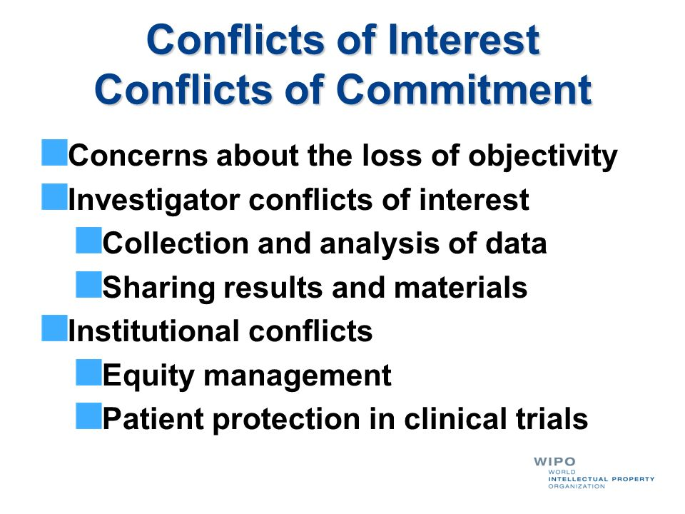 Conflicts of Interest Conflicts of Commitment