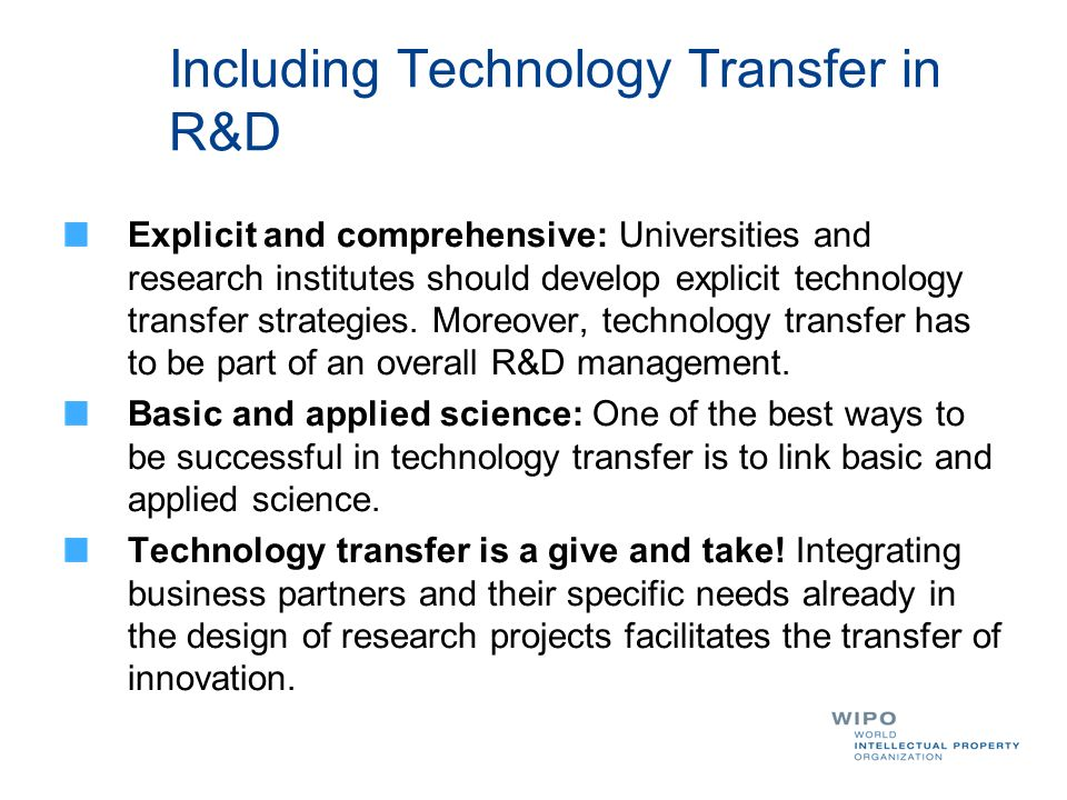 Including Technology Transfer in R&D