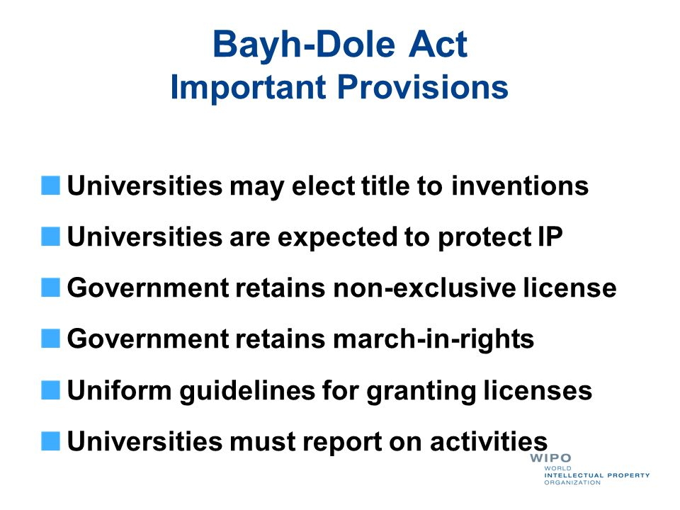 Bayh-Dole Act Important Provisions