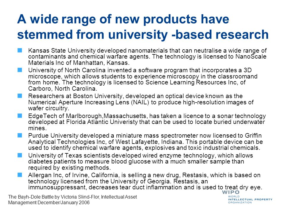 A wide range of new products have stemmed from university -based research