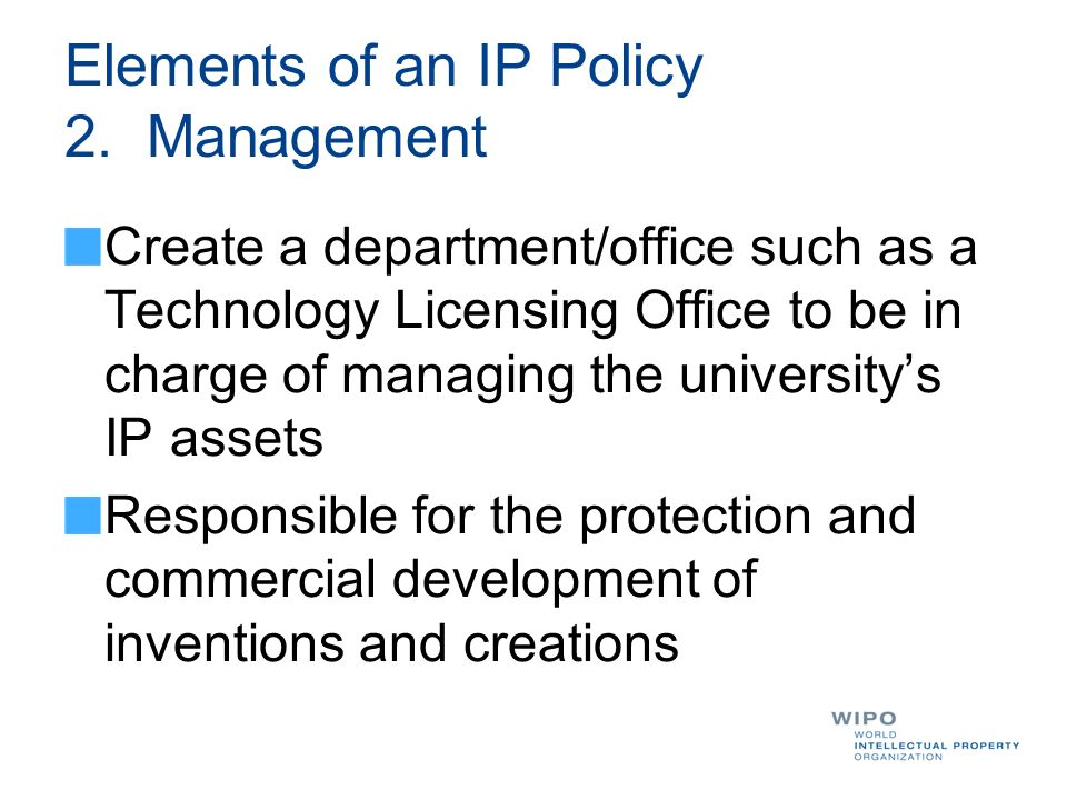 Elements of an IP Policy 2. Management